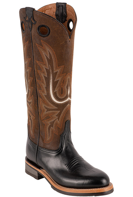 "Lucchese Women's 15"" Black and Chocolate Cowhide Ruth Boots - Angle"
