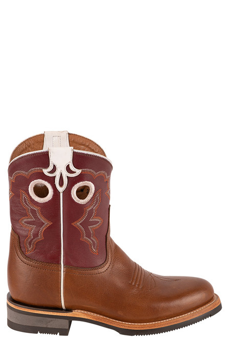 """Lucchese Women's 8"""" Tan and Red Cowhide Ruth Boot - Side"""