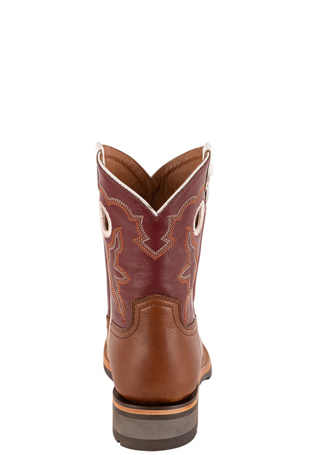 """Lucchese Women's 8"""" Tan and Red Cowhide Ruth Boot - Back"""