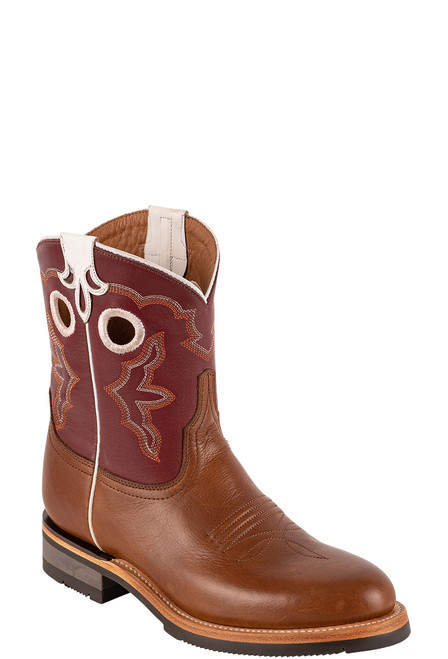 """Lucchese Women's 8"""" Tan and Red Cowhide Ruth Boot - Angle"""