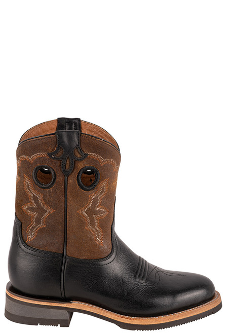 "Lucchese Women's 8"" Black and Chocolate Cowhide Ruth Boots - Side"