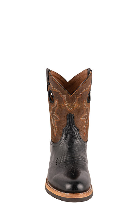 "Lucchese Women's 8"" Black and Chocolate Cowhide Ruth Boots - Front"