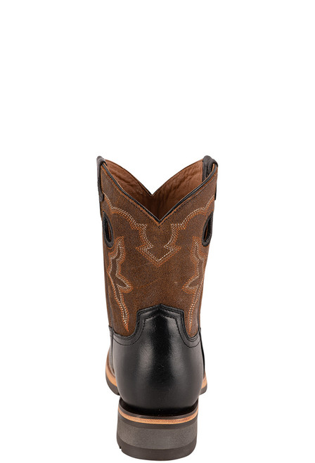 "Lucchese Women's 8"" Black and Chocolate Cowhide Ruth Boots - Back"