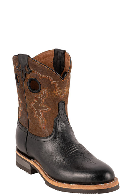 "Lucchese Women's 8"" Black and Chocolate Cowhide Ruth Boots - Angle"