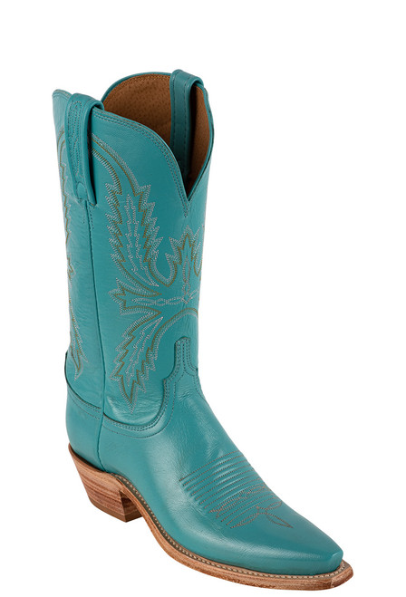 """Lucchese Women's Savannah 12"""" Emerald Goat Boots - Angle"""