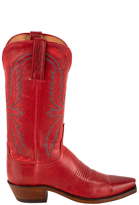 """Lucchese Women's Savannah 12"""" Red Goat Boots - Side"""