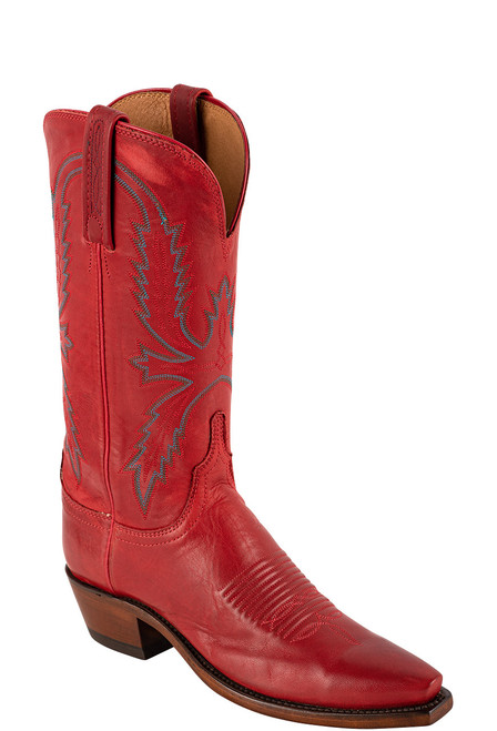 """Lucchese Women's Savannah 12"""" Red Goat Boots - Angle"""