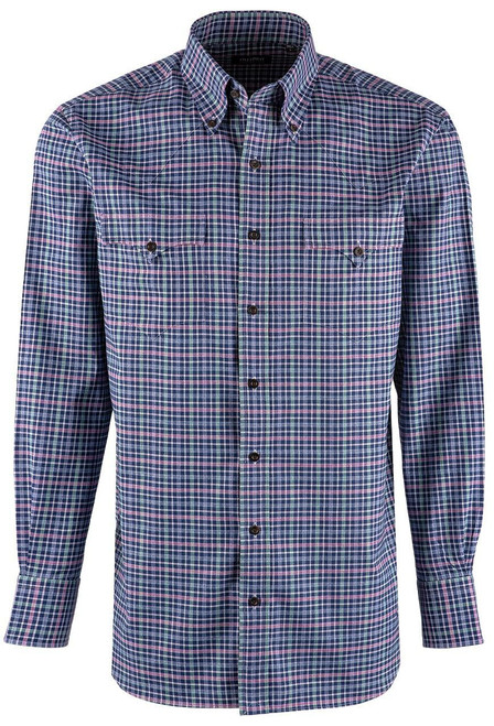 Lyle Lovett Navy, Pink & Mint Check Pinpoint Shirt - Front