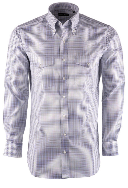 Pinto Ranch YY Collection White, Blue & Navy Tattersal Plaid Twill Shirt - Front