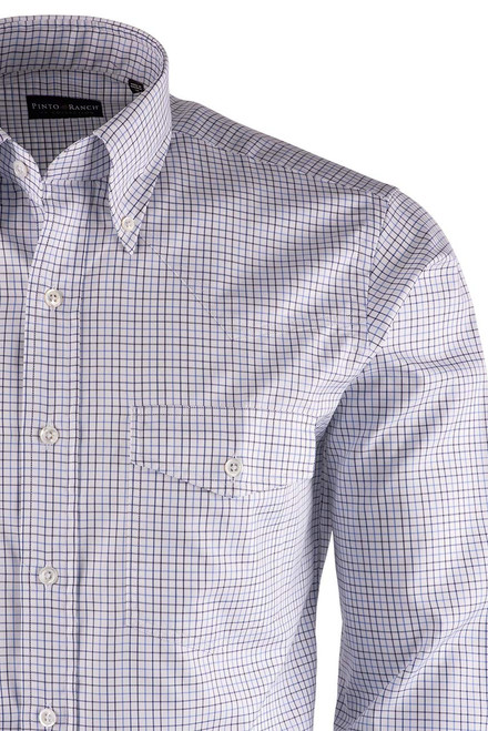 Pinto Ranch YY Collection White, Blue & Navy Tattersal Plaid Twill Shirt - Close