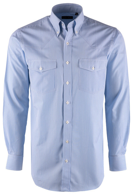 Pinto Ranch YY Collection Blue and White Hairline Stripe Poplin Shirt - Front