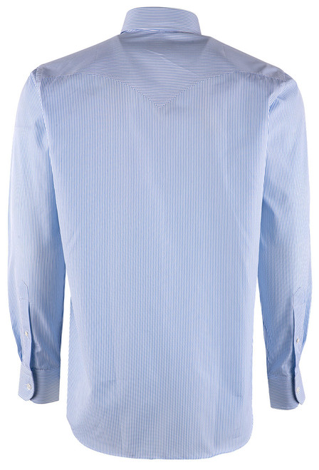 Pinto Ranch YY Collection Blue and White Hairline Stripe Poplin Shirt - Back