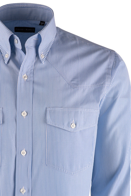 Pinto Ranch YY Collection Blue and White Hairline Stripe Poplin Shirt