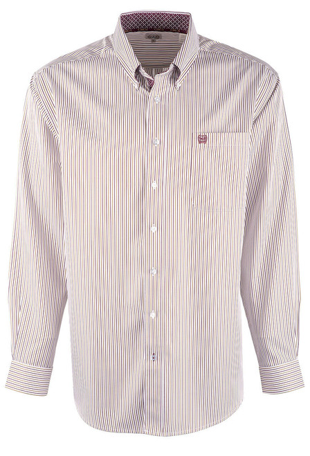 Cinch White, Purple & Tan Tencel Stripe Shirt - Front