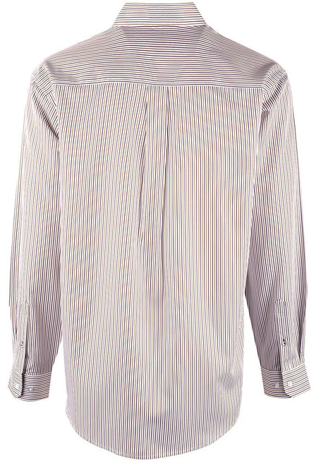 Cinch White, Purple & Tan Tencel Stripe Shirt - Back