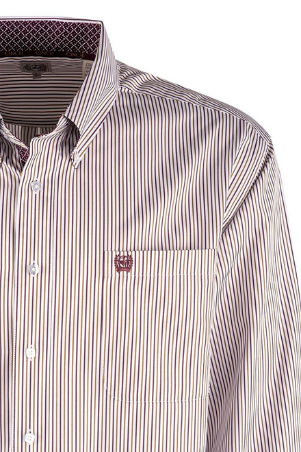 Cinch White, Purple & Tan Tencel Stripe Shirt - Pocket