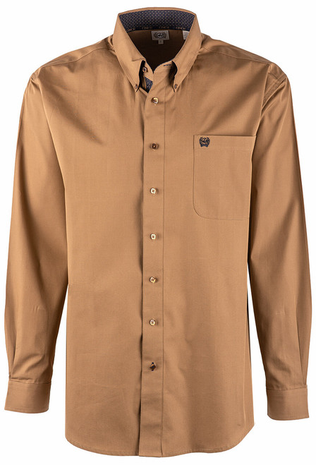 Cinch Solid Brown Plain Weave Shirt - Front
