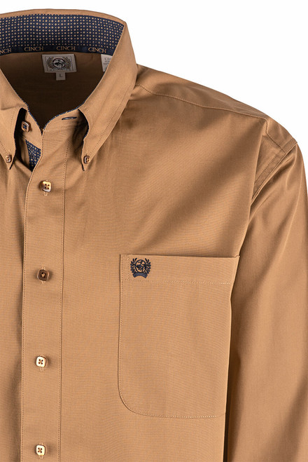 Cinch Solid Brown Plain Weave Shirt - Pocket