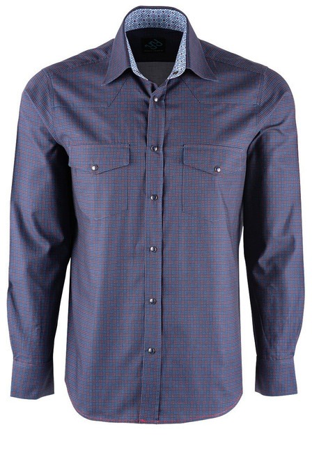 Pinto Ranch YY Collection Blue and Berry Cube Check Shirt - Front