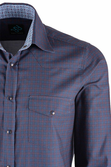 Pinto Ranch YY Collection Blue and Berry Cube Check Shirt - Pocket