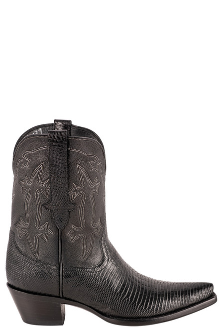 Stallion Women's Black Ring Tail Lizard Boots - Side
