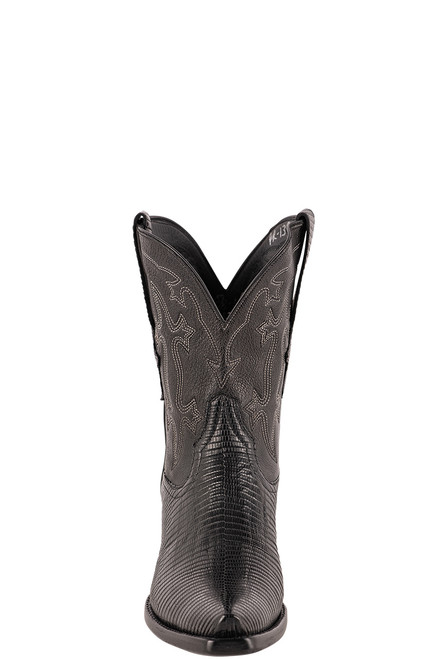 Stallion Women's Black Ring Tail Lizard Boots - Front