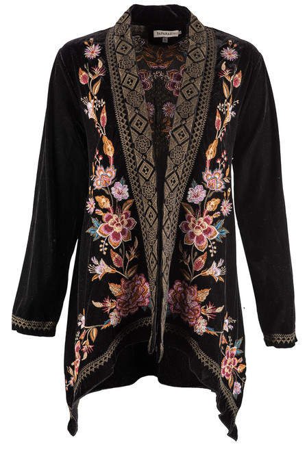 Paparazzi by Biz Rust Embroidered Velvet Cardigan - Front