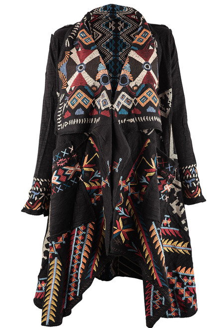 Paparazzi by Biz Aztec Sweater Coat - Front