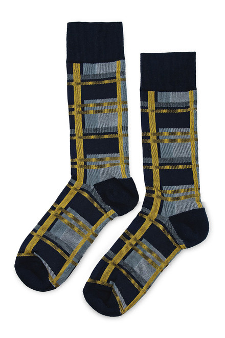 Double D Ranch Taos Plaid Print Socks- Side