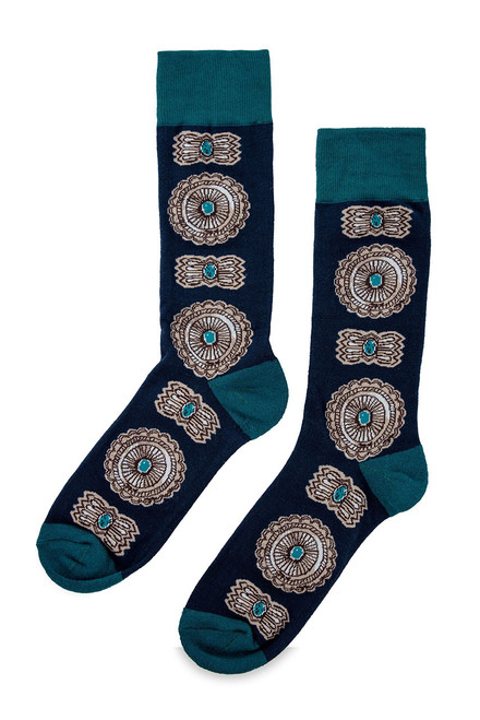 Double D Ranch Taos Concho Print Socks- Side