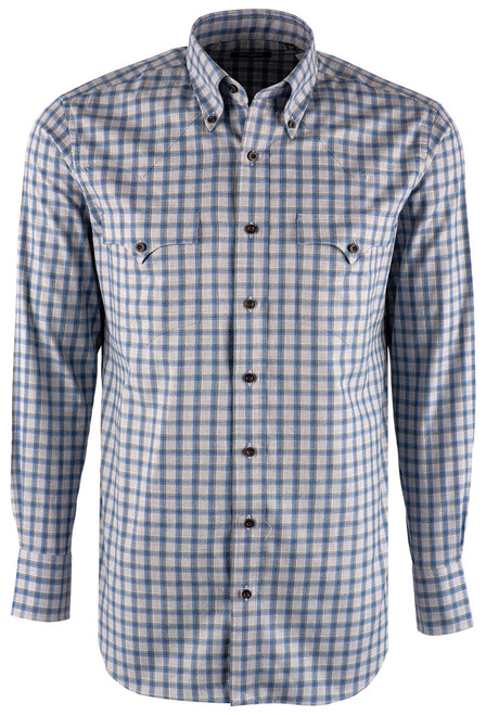 Lyle Lovett Blue and Teal Grey Check Shirt - Front