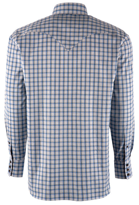 Lyle Lovett Blue and Teal Grey Check Shirt - Back