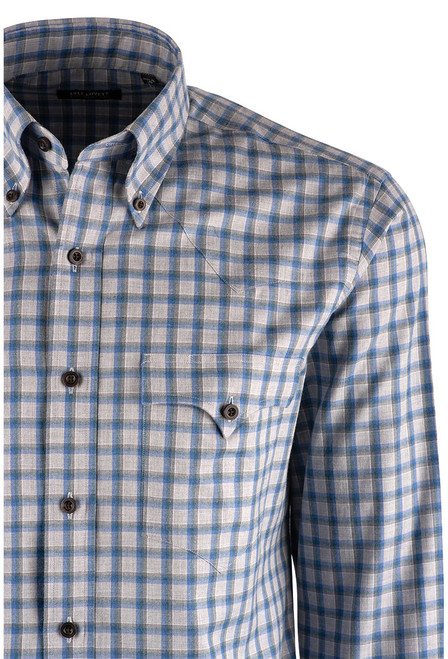 Lyle Lovett Blue and Teal Grey Check Shirt - Close up