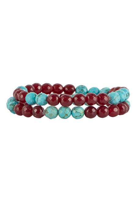Ticklebutton Jewels Agate & Turquoise Stretch Bracelets