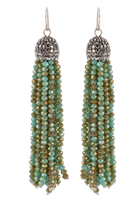 Ticklebutton Jewels Large Green Turquoise Tassel Earrings - Front