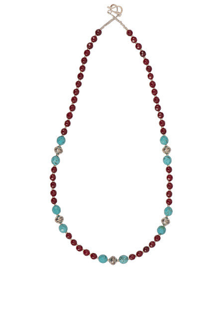Ticklebutton Jewels Cranberry & Turquoise Beaded Necklace - Front