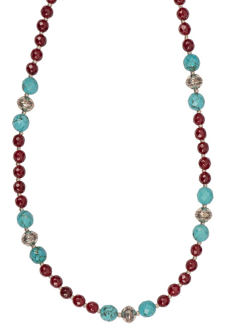 Ticklebutton Jewels Cranberry & Turquoise Beaded Necklace - Close up