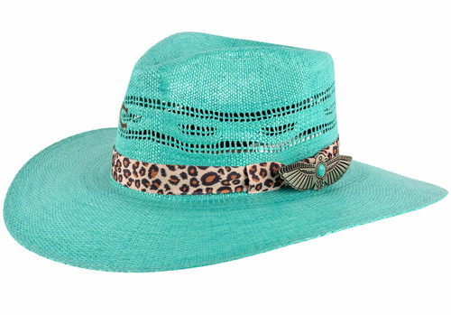 Charlie 1 Horse Right Meow Turquoise Straw Hat - Angle