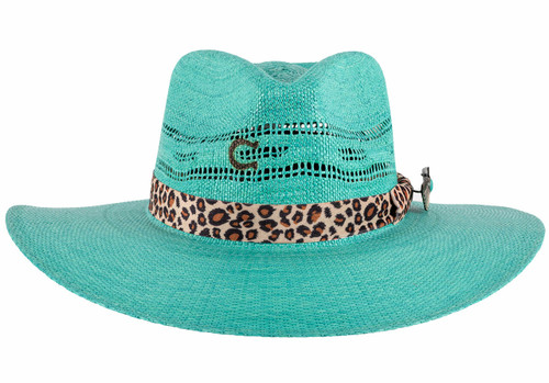 Charlie 1 Horse Right Meow Turquoise Straw Hat - front