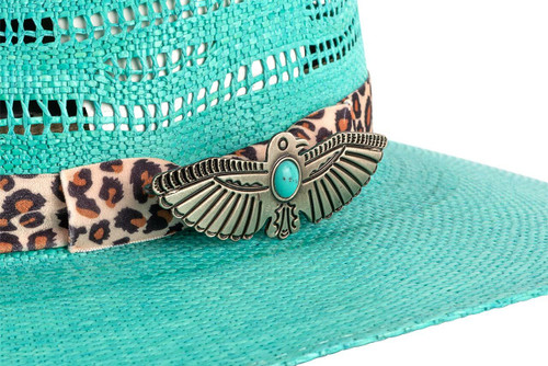 Charlie 1 Horse Right Meow Turquoise Straw Hat - hat pin