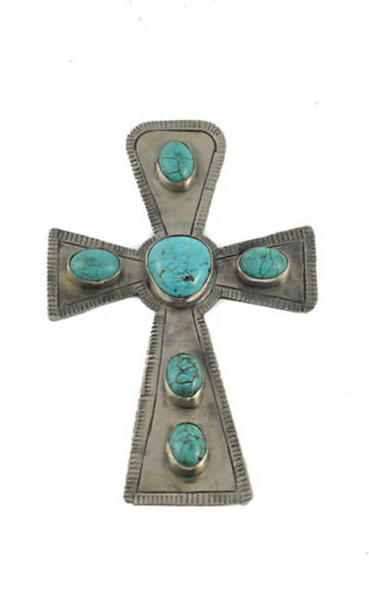 J. Alexander Large Stamped Cross with Turquoise
