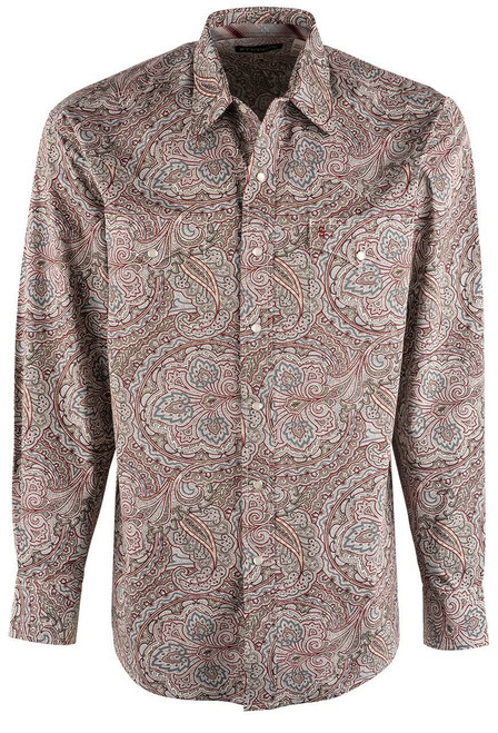 Stetson Red Ornate Paisley Snap Shirt - Front
