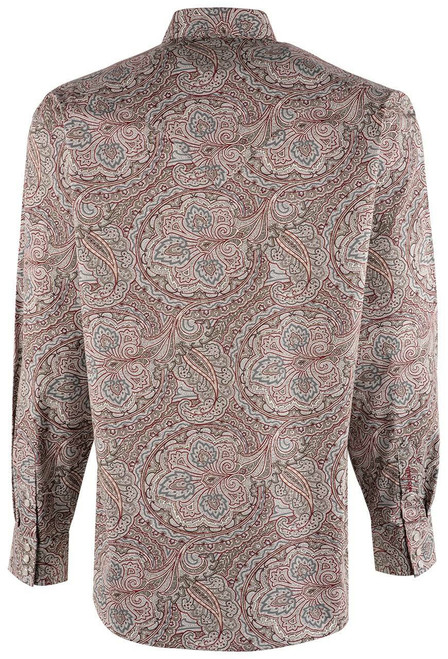 Stetson Red Ornate Paisley Snap Shirt - Back