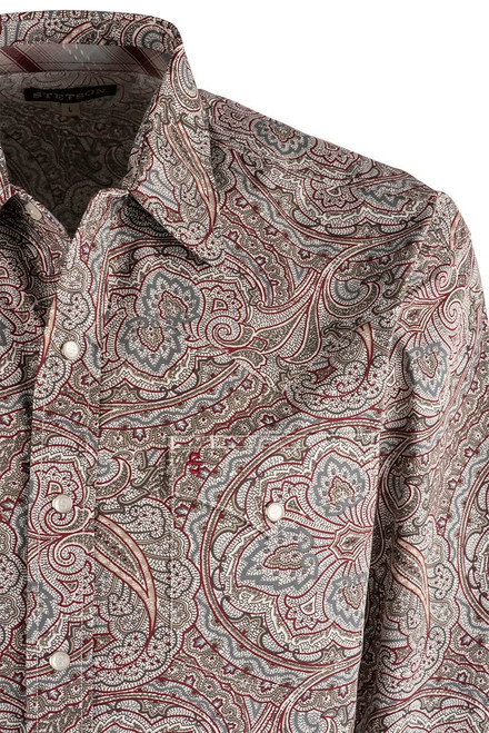 Stetson Red Ornate Paisley Snap Shirt - Yoke