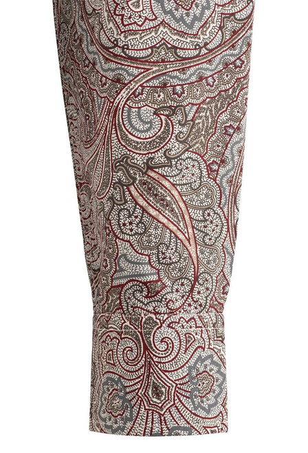 Stetson Red Ornate Paisley Snap Shirt - Cuff