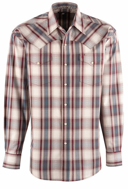 Stetson Red Ranch Plaid Dobby Snap Shirt - Front