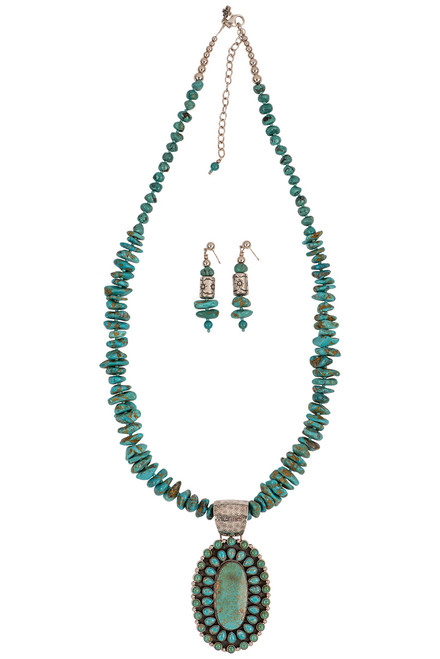 Sweet Tea Jewelry Baja Turquoise Necklace Set - Front
