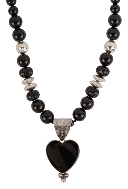 Sweet Tea Jewelry Onyx Heart Necklace Set - Necklace