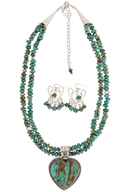 Sweet Tea Jewelry Turquoise Royston Heart Necklace Set - Necklace Set