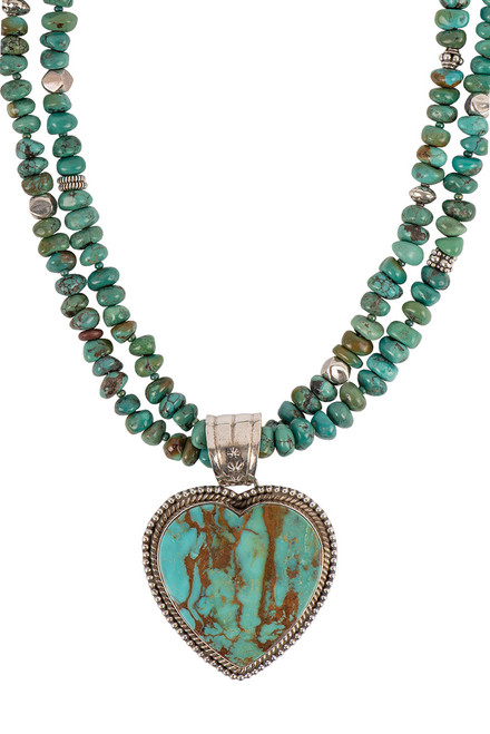 Sweet Tea Jewelry Turquoise Royston Heart Necklace Set - Necklace